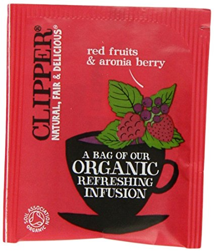 A photograph of Clipper organic red berry and aronia berry