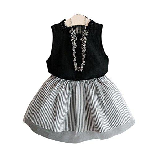 (Babykleidung Sommerkleider Prinzessin Kleid Junge Mädchen Kleinkind Sommer Blumendruck Kleid Bluse T-Shirt + Streifen kurzen Rock Set Outfits Party Spitze Tutu Kleid LMMVP (Schwarz, 130 (6/7T)))