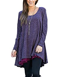 FeelinGirl Blouse Tunique Top a Manches Longues Pull Mini Robe
