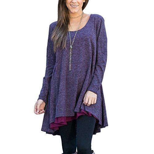 FeelinGirl Blusa Camisa Falda para Mujer Mangas Largas Encaje Púrpura S