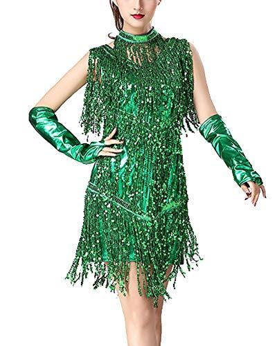 Damen Quaste Pailletten Latin Dance Kleid Ballroom Salsa Samba Tango Latein Wettbewerb Cocktailkleid + Handschuh + Halskette Grün M