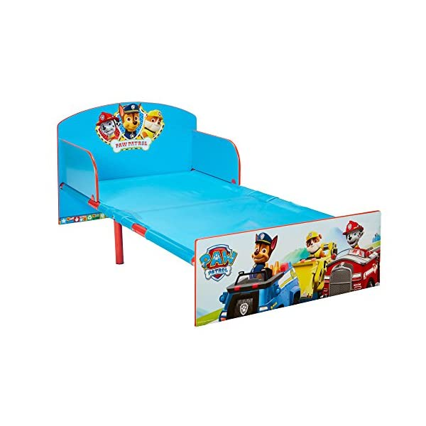 Paw Patrol Kids 505PWP Toddler Bed by HelloHome - Red/Blue Paw Patrol Drift off dreaming with your favourite Paw Patrol characters. Perfect size for toddlers, low to the ground with protective and sturdy side guards to keep your little one safe and snug. Fits a standard cot bed mattress size 140cm x 70cm, mattress not included. Part of the Paw Patrol bedroom furniture range from HelloHome 4
