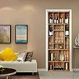 ZZQXX Porte Autocollants 3D Cave à vin Autocollant de Porte Décor de la Chambre Amovible adhésif Vinyle Papier Peint imperméable à l'eau Murale Mur Autocollant Photo - 77x200cm