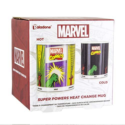 Paladone Marvel Comics Super Powers Tasse Kaffee- und Teetasse, für empfindliche Getränke, Farbe und Design ändert sich bei heißem Zustand, Geschenk für alle Altersgruppen, Keramik