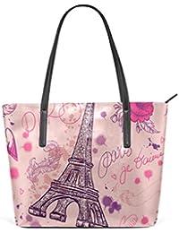 8423861d1a265 Coosun Retro Hand gezeichnet Paris Eiffelturm PU Leder Schultertasche  Handtasche und Handtaschen Tasche für Frauen