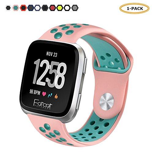 FatcatBand Fitbit Versa Armband, Atmungsaktiv Verstellbares Ersatz weiches Silikon Sporty Wrist Strap Band Armbanduhr Uhrenarmband Schlaufe Armbänder für Fitbit Versa Smartwatch