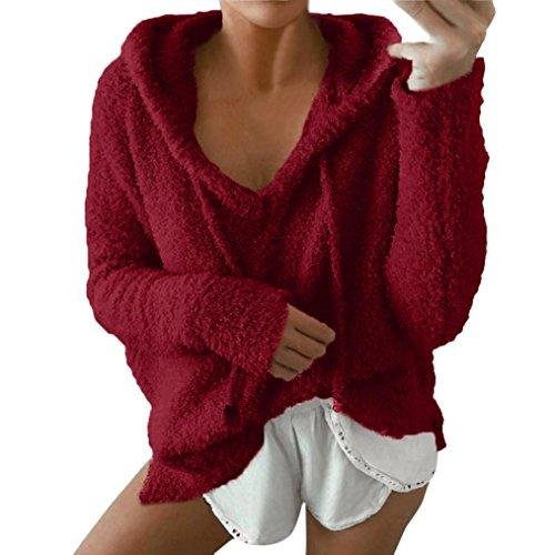 Internet Damen Langarmshirts Winter warme Bluse Sweatshirt Hoodie Pullover (weinrot, S) (Sweatshirts Crewneck Frauen)