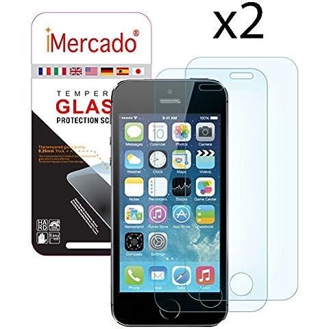 iMercado® | 2x Pack Front | Apple iPhone SE / 5s / 5c /5 Dos (2) Protectores de Pantalla Empaquetado, Vidrio Templado Delantero (Front) para iPhone SE / 5s / 5c /5