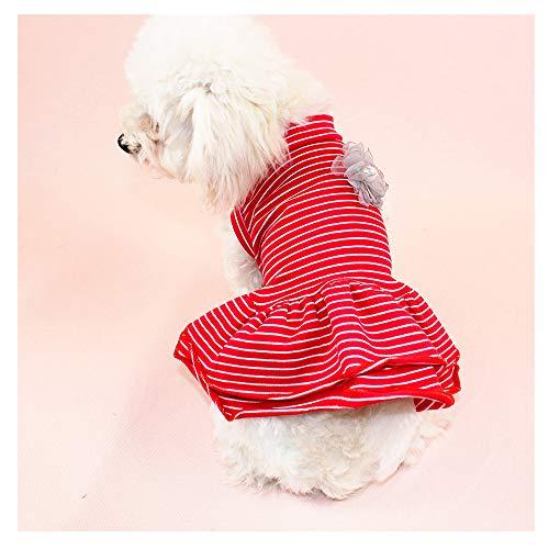 Pet 548925 Gestreiftes Hemd Prinzessin Sommerkleid Für Kleine Hunde Katzen Welpen Sommerkleid Stufenrock Party Kostüm Yorkie Chihuahua Shih Tzu Kleidung,Red,XL (Yorkie Kostüm)