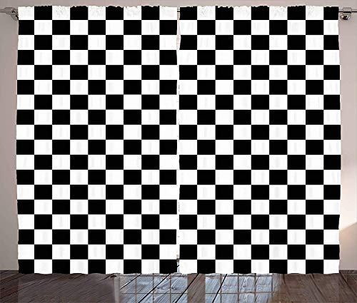Checkers Game Curtains, Geometric Grid Style Monochrome Squares in Traditional Game Board Design, Living Room Bedroom Window Drapes 2 Panel Set, Black and White,110 W X74 L inch Hot Pink Checker