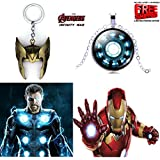 2 Pc AVENGER SET - THOR HELMET / CROWN GOLD COLOUR IMPORTED METAL KEYCHAIN & IRONMAN ARC REACTOR 3D GLASS DOME SILVER METAL PENDANT WITH CHAIN ❤ LATEST ARRIVALS - RINGS, KEYCHAINS, BRACELET & T SHIRT - CAPTAIN AMERICA - AVENGERS - MARVEL -