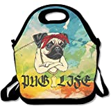 Neoprene Lunch Tote - Pug Life Waterproof Reusable Cooler Bag For Men Women Adults Kids Toddler Nurses With Adjustable Shoulder Strap - Best Travel Bag