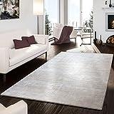 T&T Design Teppich Handgemacht Modern Viskose Garn Glanz Hoch Tief Optik Meliert Creme, Größe:160x230 cm