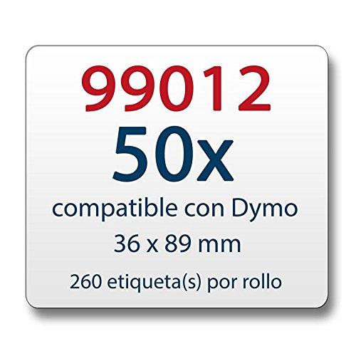 50x Etichetta compatibile con Dymo 99012 36 x 89 mm 260 etichette per bobina/Seiko SLP-2RLE 36 x 89 mm 260 per Rotolo di Etichette (1x)