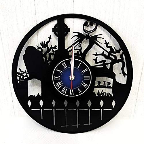 Nightmare Before Wanduhr aus 12 Zoll / 30 cm Vintage Vinyl Schallplatte - König Halloween Stadt Nightmare Before Women Girls - Jack Skellington Merchandise ()