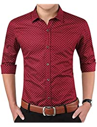 LionRoar Men's Polka Print Full Sleeves Formal Shirt