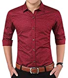 LionRoar Men's Printed Slim Fit Cotton Full Sleeve Formal Shirt (XL (Chest 42 Inches), Maroon FS)