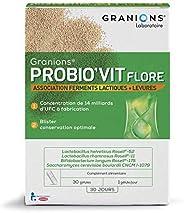 GRANIONS Probio'Vit Flore - 30 Gélules = 30 Jours - Ferments Lactiques & Levures - 14 Milliards D'