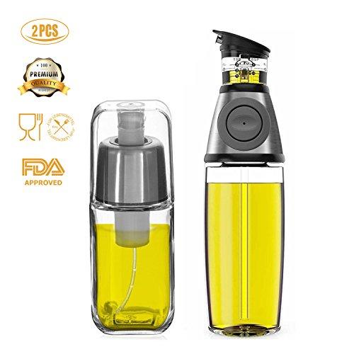 Kit dispensador de aceite y el aerosol botella de aceite FIFILARY para la cucharada de aceite en el cuerpo y el pico contra la gota, el vinagre con anti-obstrucción del filtro para barbacoa freidora aire, botellas dobles, tamaño 500 ml (17,6 oz) y 200 ml (7 oz), en botellas de vidrio de acero inoxidable 304 y cal sodada, sin BPA, LFGB y certificación FDA