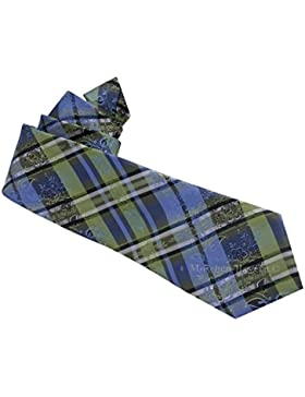 Edle Trachtenkrawatte Herren - 100 % Seide - Blau/Grün