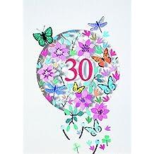 Forever Handmade Cards-Laser cut Paper Mode-Biglietto di auguri, motivo: 30 anni F30