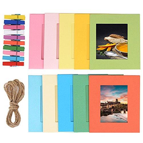 TaiYaun Papierrahmen Papier Fotorahmen Bilderrahmen mit 10 Stück Mini Holzklammern und 2 Stück Twines, Mehrfarbig (3inch color frame)
