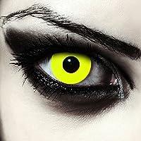 """Lentillas de color amarillo totalmente para Halloween zombie lentillas sin dioprtías / corregir + gratis caso de lente """"Yellow Bigeye"""""""