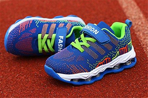 Wealsex Chaussures de Sport Garçon Mesh Scratch Lacet Baskets Basses Multisport Extérieurs Bleu