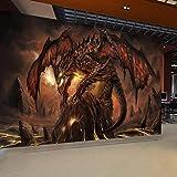 Papier peint 3d mural personnalisé World of Warcraft Fiery Dragon fond peinture sur mur Murales pour le salon muraart 250cmx175cm