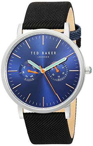 Ted Baker Men's 'BRIT' Quartz Stainless Steel and Canvas Dress Watch, Color:Black (Model: 10031496)