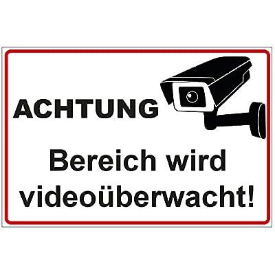 """Schild """"Achtung - Bereich wird videoüberwacht"""" aus Alu / Dibond 300x200 mm - 3 mm stark"""