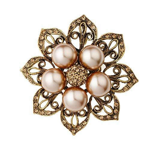 Serired Brosche Zarte Vintage Ausschnitt 8-Blatt Set Perle Florale kugelförmige Frucht Corsage Kleid Ornament Festival Geschenk (Perlen Trompete Kleid)