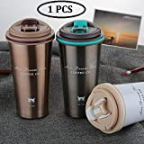 RYLAN Thermocup Tea Coffee Mug 500ml Double Wall Stainless Steel Travel Cup Car Thermos Mugs with Handle Coffee Tea Travel Thermal Bottle Coffee Tumbler Vacuum Flasks and Thermos