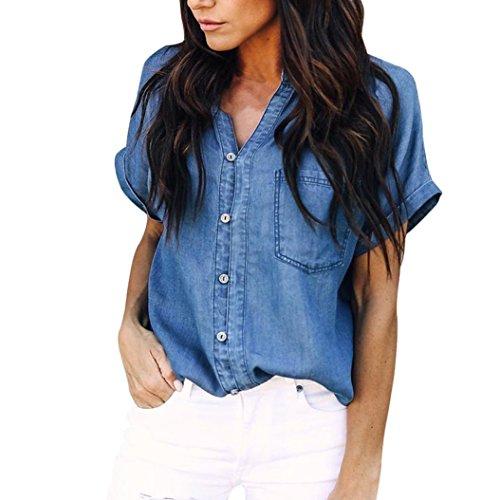 UFACE Damen Weste Kurzärmeliges Damen-T-Shirt mit Knöpfen im Denim-T-Shirt Top-Shirt Mantel Bluse T-Shirt Tops (S, Dunkelblau)