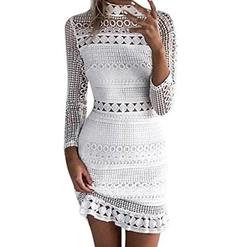 Kleid damen Kolylong Frauen Elegant Spitze Kleid Knielang Slim Langarm Spitzenkleid Vintage...