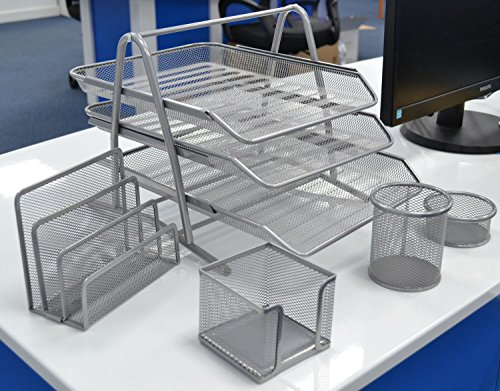 SHINE MESH OFFICE SET OF 5 PICES 3TIER LETTER/FILING/PAPER TRAY, LETTER SHELF,PENCIL-CUP,MEMO HOLDER & DOODAD CUP-MIDDLE