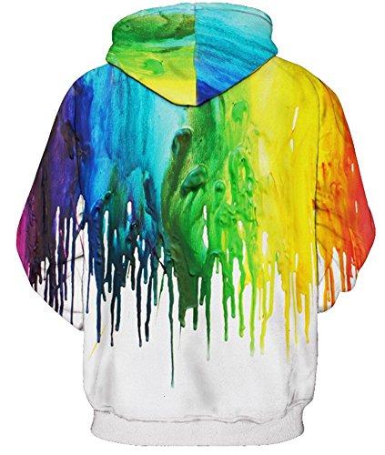AMOMA Unisex Slim Fit 3D Digital Bedruckte Sweatshirt Kapuzenpullover Hoodies Paint