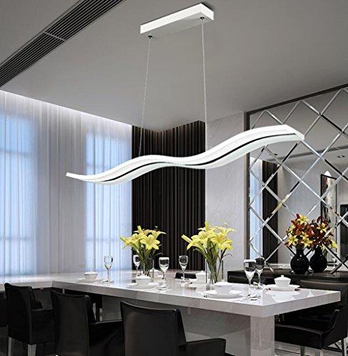 LED Pendelleuchte Dimmbar Moderne Kronleuchter Deckenleuchten Welle LED hängende Leuchte Höhenverstellbar Fernbedienung für Esszimmer Wohnzimmer Schlafzimme(Dimmbar mit Fernbedienung 36W) (Dimmar) -