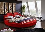 SAM Rundbett Carlos, 180 x 200 cm, Polsterbett in Rot Lederoptik, mit LED-Beleuchtung und zwei Nachttischablagen, pflegeleicht
