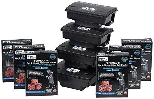 Kit de blocs d'appâts pour rats (avancé) avec 3kg de blocs d'appât & des gants de sécurité gratuits de Pest Expert