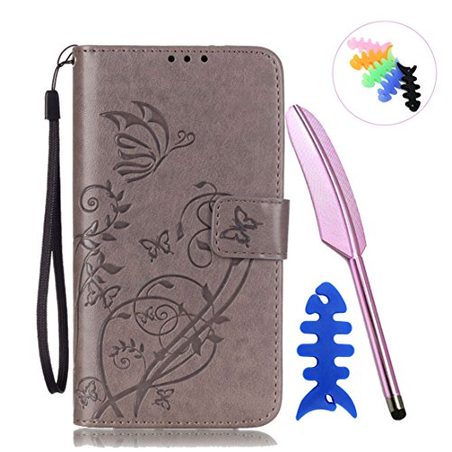 ANNN® Samsung Galaxy S5 PU Cuir Etui Pochette Flip Wallet Housse Design Embossing butterfly Mode Bookstyle Case Cover Souple Fonction Stand Magnetique Dustproof Protective Shell Fente + Quill stylet + A04