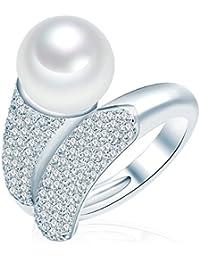 Valero Pearls - Bague - Perles de culture d'eau douce - Argent sterling 925 - Bijoux de perles oxyde de zirconium - Bijoux pour femmes - En plusieurs tailles, bague oxyde de zirconium - 60925024