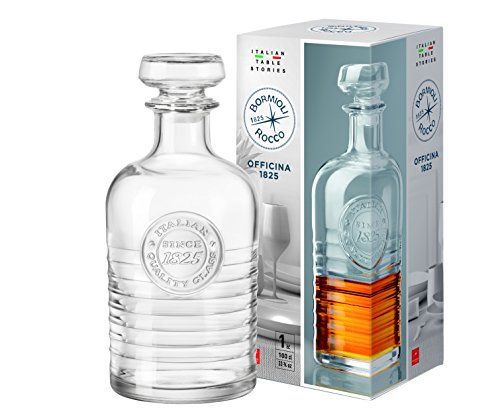 Bormioli Rocco Whisky-Karaffe mit Glasstopfen 1l, 24 cm groß, Dekanter