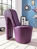 Schuhsessel Eve 42x99x97 cm Kunstleder violett High Heel Stuhl Designersessel mit Nieten Hocker Designerstuhl
