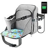 Wickeltasche Rucksack, Baby Wickeltasche, Ceekii Mama Rucksack Babyrucksack mit Multifunktional Kindersitz Wasserdicht Babytasche und USB-Lade Port Wickelrucksack (Grau)