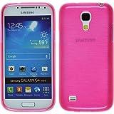 PhoneNatic Case für Samsung Galaxy S4 Mini Hülle Silikon pink brushed Cover Galaxy S4 Mini Tasche + 2 Schutzfolien