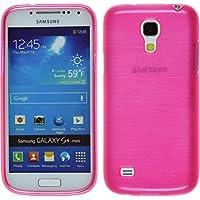 Funda de silicona para Samsung Galaxy S4 Mini - brushed rosa caldo - Cover PhoneNatic Cubierta + protector de pantalla