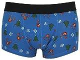 Tom Franks Herren Neuheit Weihnachten Hipster Boxer Badehose - blau Rudolph, Small