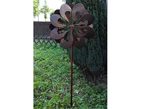 HAFIX Windrad Metall Blumenmuster Windspiel Metallwindrad Gartendeko rund Wind Mühle mit Erdspieß - 7