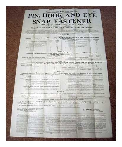 Pin, hook and eye snap fastener trade board (Great Britain) : Proposal to vary and fix minimum rates of wages [original 1921 information poster/public notice] - 1921 Poster
